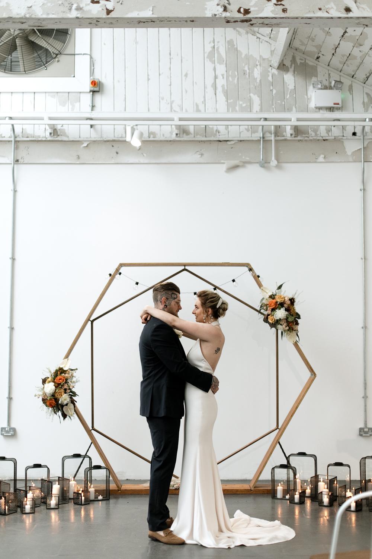 Hexagon Backdrop Arch Ceremony Decor Aisle Flowers Lights Moroccan Wedding Ideas Emma Louise Photography