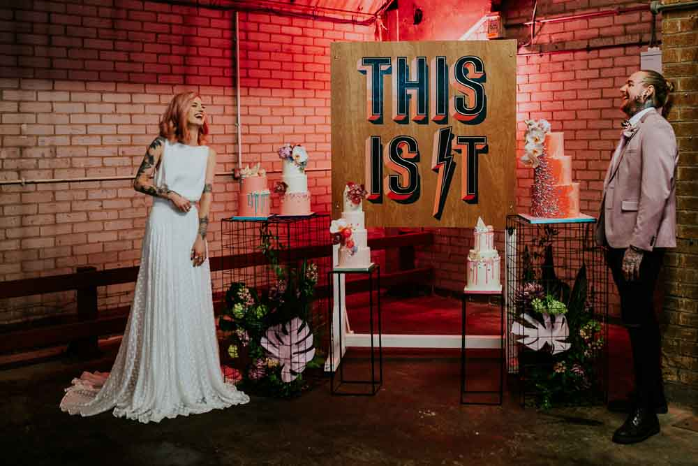 Backdrop Sign Banner Cake Table Neon Sign Wedding Ideas State Of Love and Trust Photography