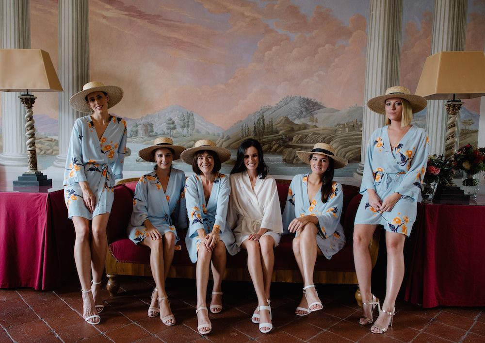 Bridesmaid Bridesmaids Dressing Gowns Robes Boater Hats White Tuscany Wedding Lelia Scarfiotti