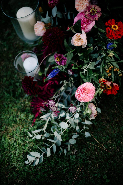 Flower Flowers Arrangement Candles Pink Roses Eucalyptus Tuscany Wedding Lelia Scarfiotti