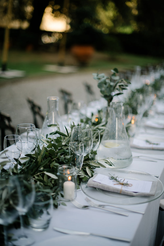 Long Tables Greenery Foliage Olive Eucalyptus Outdoor Outside Reception Tuscany Wedding Lelia Scarfiotti