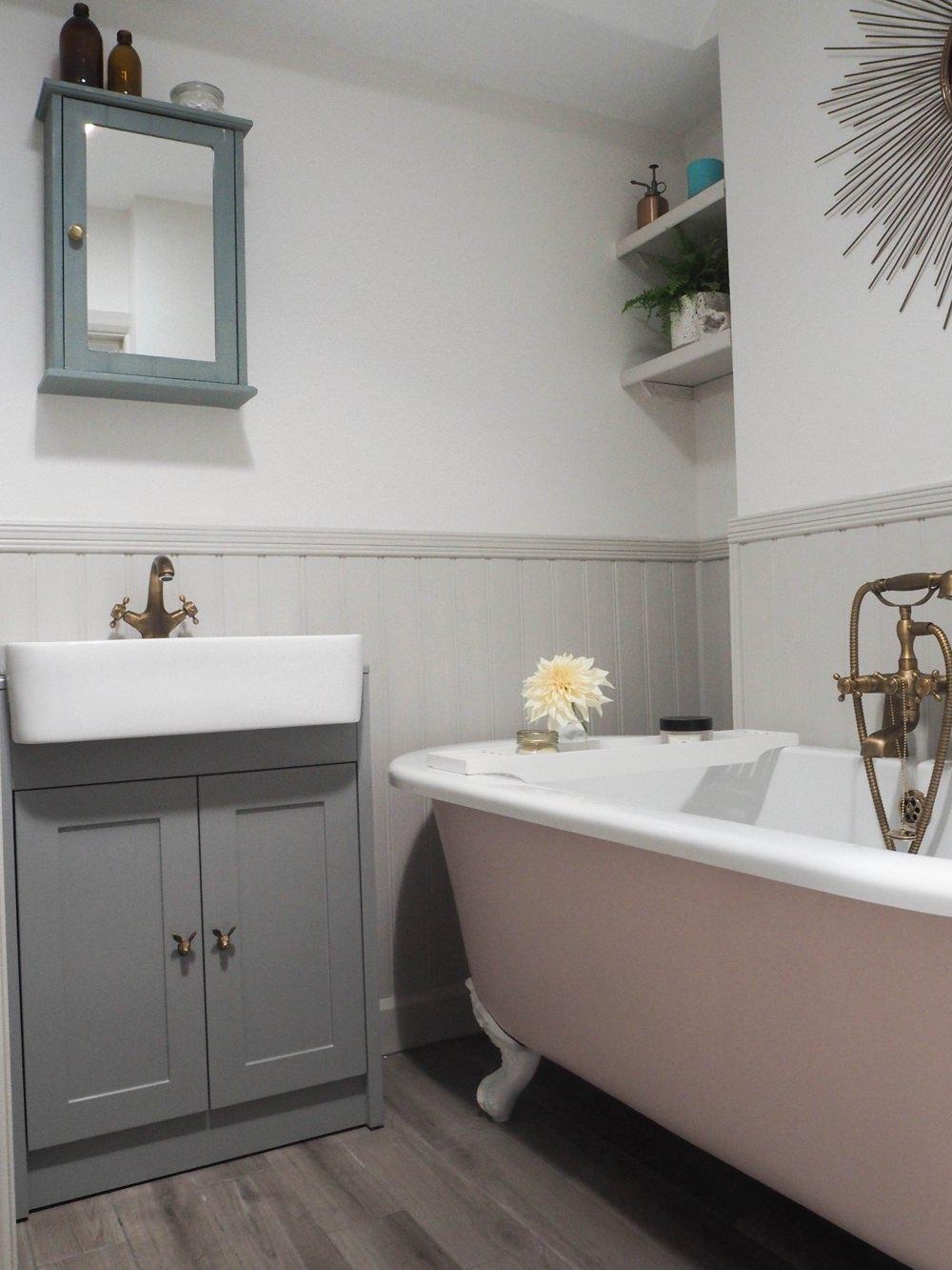 Bathroom Renovation Pink Roll Top Bath 1930s House
