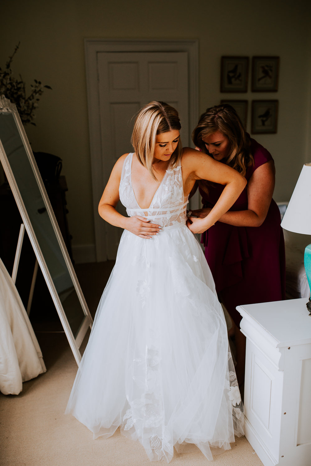 Bride Bridal Dress Gown Willowby by Watters Galatea Straps A Line Plunge Tulle Butley Priory Wedding Sally Rawlins Photography
