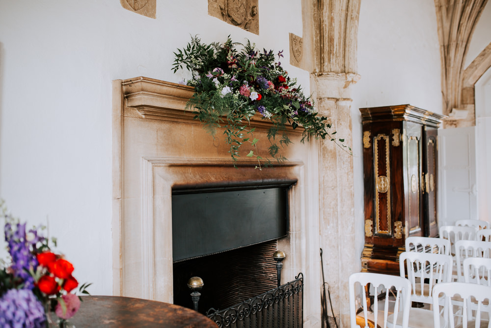 Fireplace Mantle Piece Flowers Butley Priory Wedding Sally Rawlins Photography