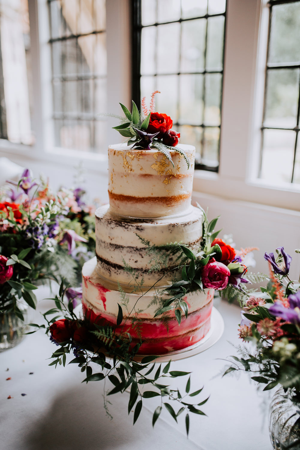 Semi Naked Cake Gold Leaf Flowers Floral Butley Priory Wedding Sally Rawlins Photography
