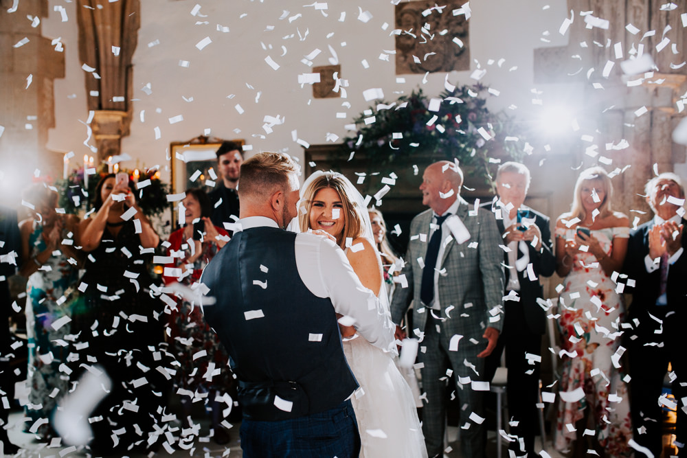Confetti Cannon First Dance Butley Priory Wedding Sally Rawlins Photography
