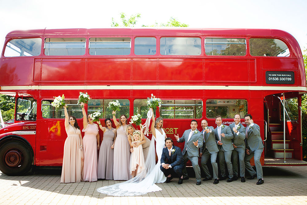 Bride bridal Fitted Fishtail Dress Gown Checked Suit Groom Blush Bridesmaids Groomsmen Vintage Bus Group Shot Countryside Barn Wedding Katrina Matthews Photography