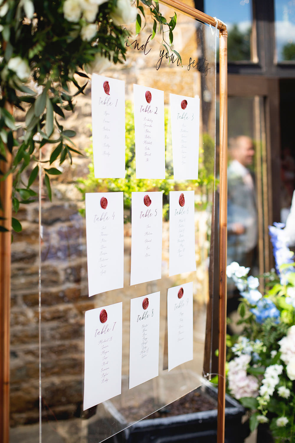Table Plan Seating Chart Copper Frame Foliage Wax Seal Countryside Barn Wedding Katrina Matthews Photography