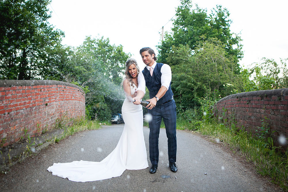 Bride bridal Fitted Fishtail Dress Gown Checked Suit Groom Waistcoat Countryside Barn Wedding Katrina Matthews Photography