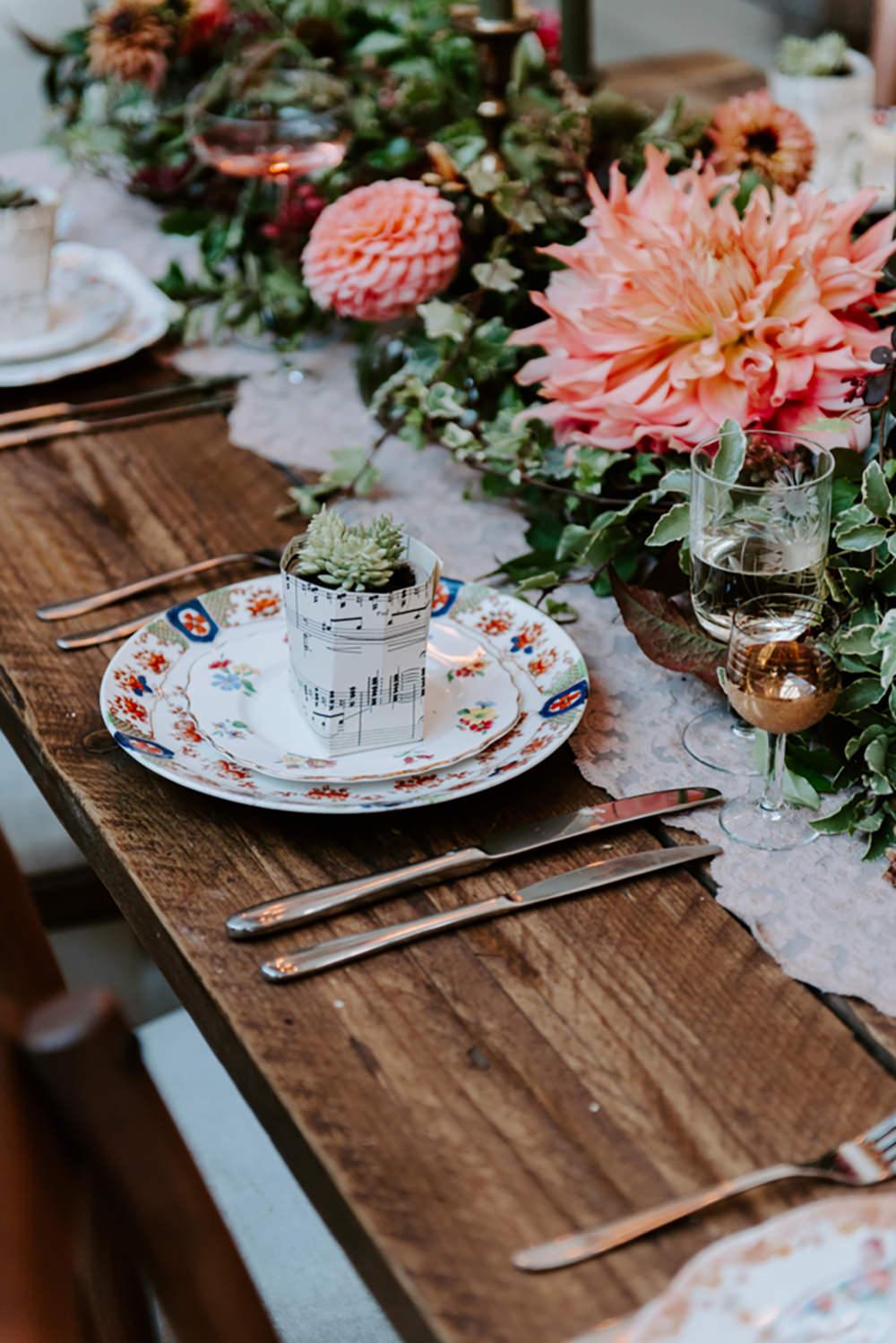 Place Setting Plate Floral Decor Ethical Wedding Ideas Sadie Osborne Photography