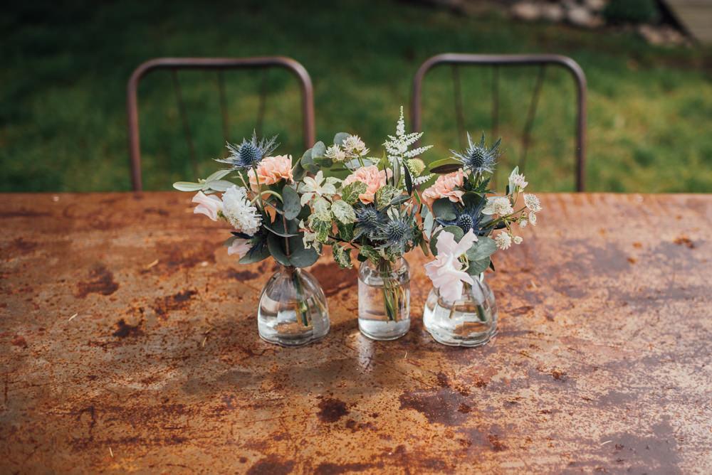 Bottle Flowers Decor France Destination Wedding The Shannons Photography