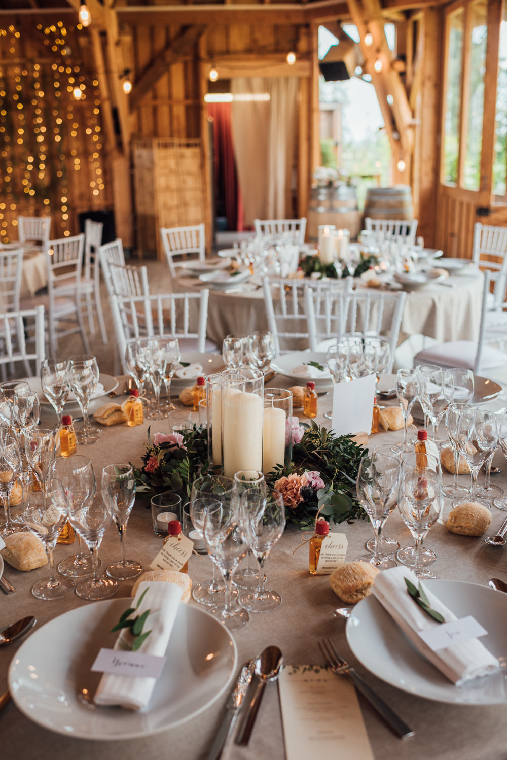 Table Centrepiece Decor Candles Wreath France Destination Wedding The Shannons Photography