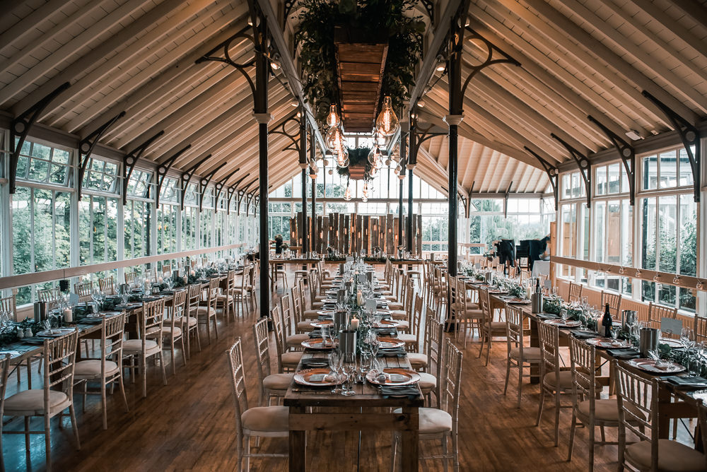 Glasshouse Dining Layout Greeenery Hexham Winter Gardens Wedding Leighton Bainbridge Photography