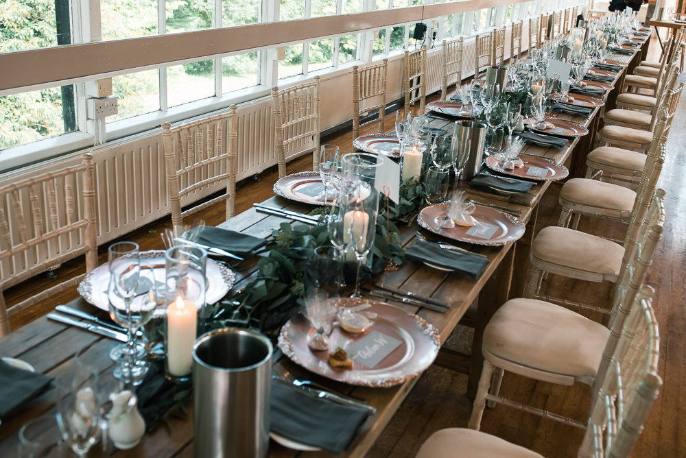 Eucalyptus Greenery Foliage Runner Tables Dining Hexham Winter Gardens Wedding Leighton Bainbridge Photography