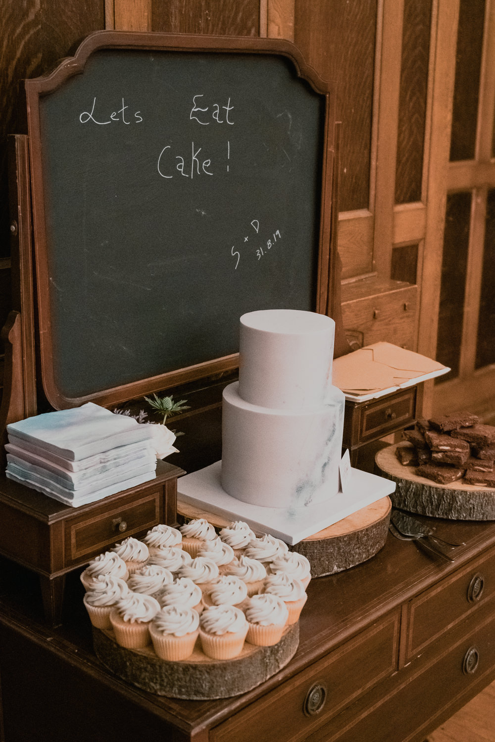 Cake Table Dresser Chalkboard Marble Dessert Hexham Winter Gardens Wedding Leighton Bainbridge Photography