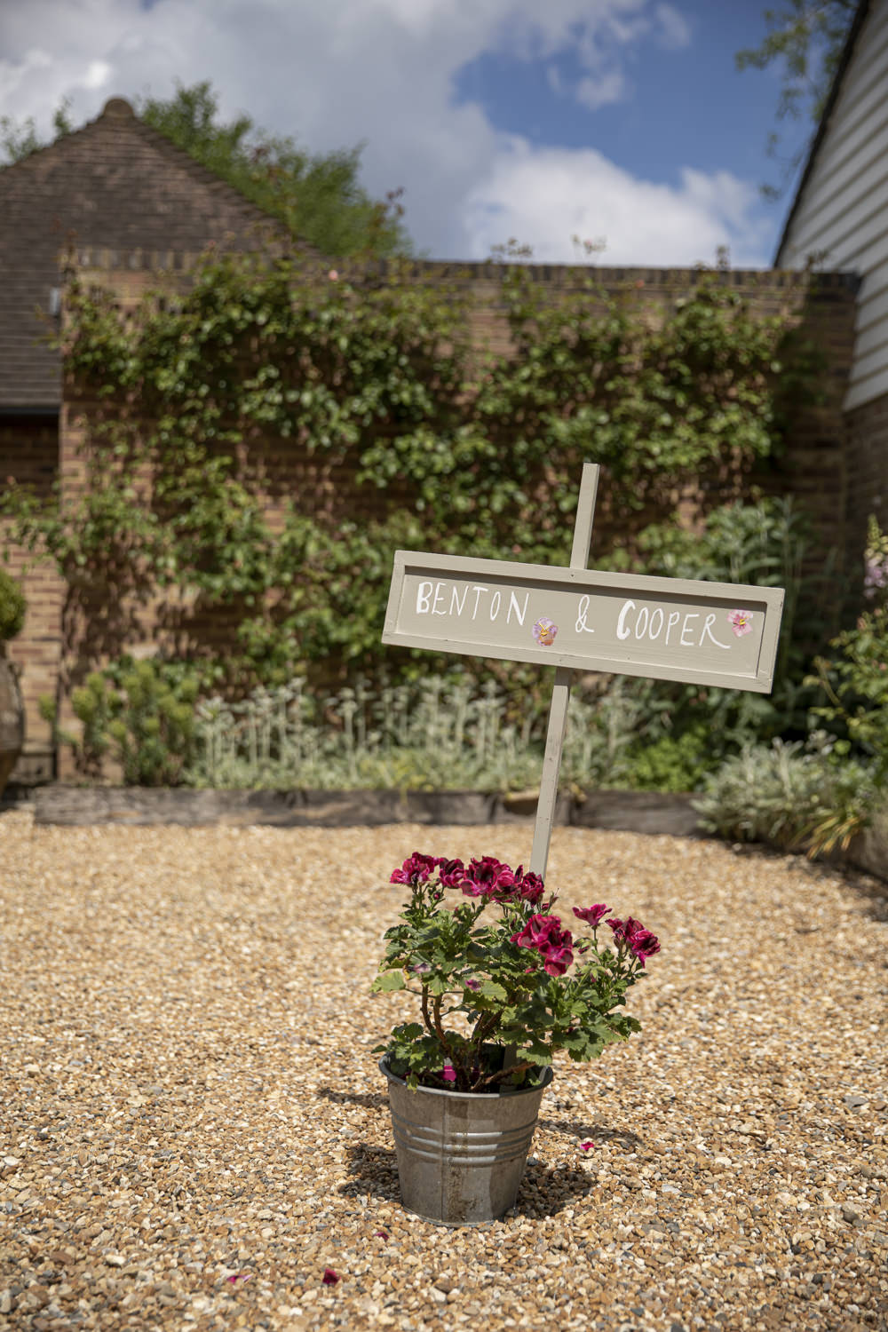 Sign Signpost Flowers Bucket Kent Marquee Wedding Lily Bungay and Co