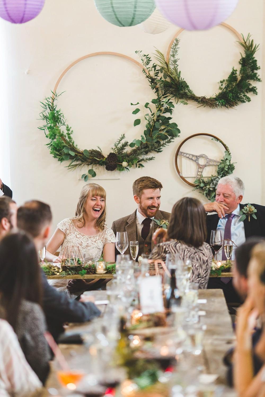 Hoop Backdrop Greenery Foliage Top Table Letchworth Wedding Milkbottle Photography