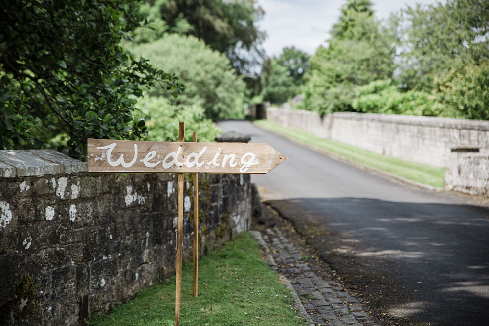 Wedding Direction Sign Wooden Signpost Marquee Castle Wedding Rachael Fraser Photography