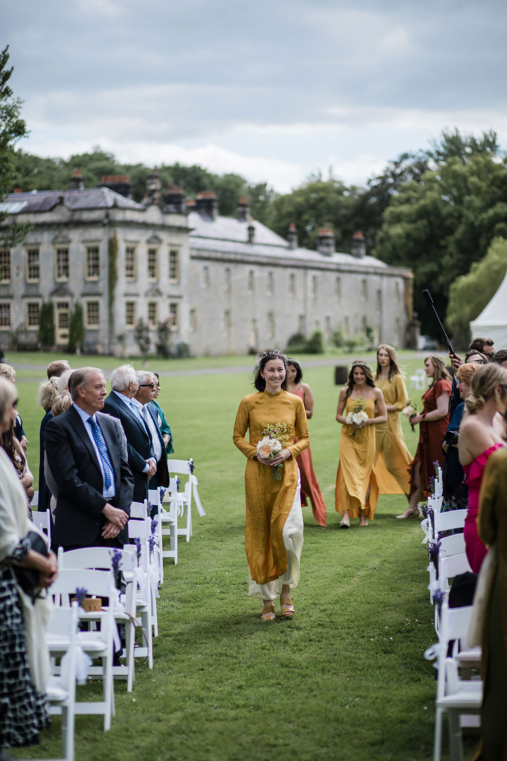 Mismatched Yellow Orange Bridesmaids Flower Floral Crown Marquee Castle Wedding Rachael Fraser Photography