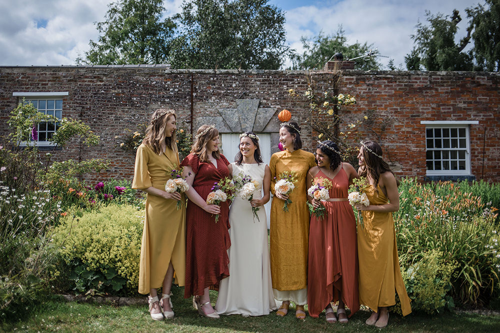 Bride Bridal Boat Neck Cut Out Dress Gown Flower Floral Crown Veil Yellow Red Orange Mismatched Bridesmaids Marquee Castle Wedding Rachael Fraser Photography