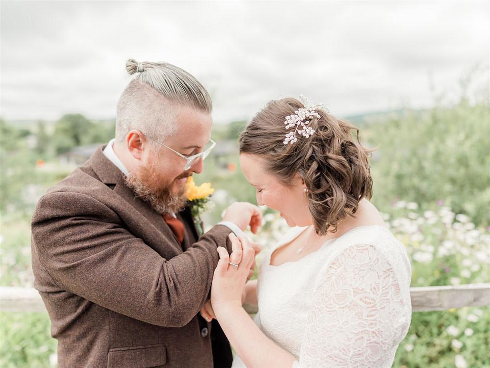 Bride Bridal Long Sleeve Tea Length Dress Lace Slaters Tweed Three Piece Suit Waistcoat Groom Surprise Wedding Carn Patrick Photography