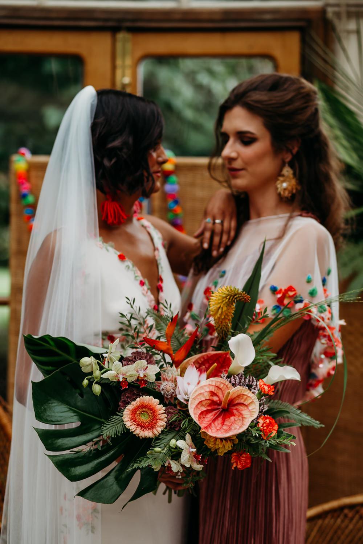 Flower Bouquet Bride Bridal Palm Leaf Birds of Paradise Protea Orchids Anthurium Lily Tropical Wedding Ideas When Charlie Met Hannah