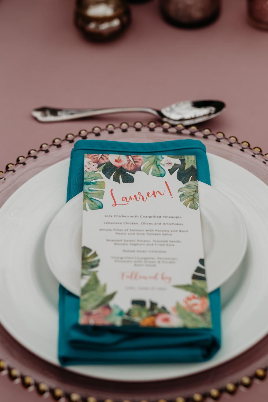 Jungle Palm Leaf Stationery Menu Tropical Wedding Ideas When Charlie Met Hannah