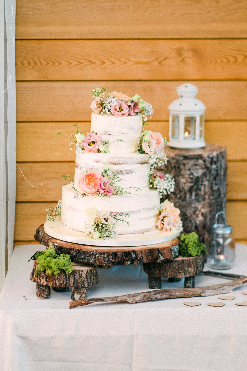 Semi Naked Buttercream Cake Flowers Floral Wood Slice Stand Utopia Broughton Hall Wedding Christopher Thomas Photography