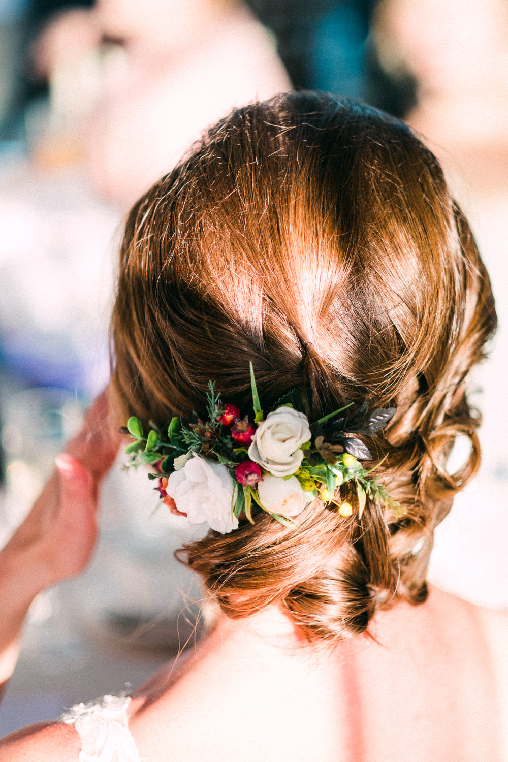Bride Bridal Hair Up Do Flowers Floral Utopia Broughton Hall Wedding Christopher Thomas Photography