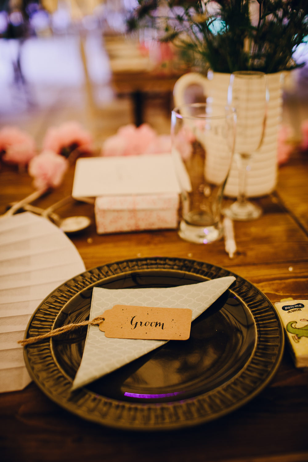 Place Setting Decor Luggage Tag Place Name Vintage Floral Napkin Alderford Lake Wedding Amy B Photography