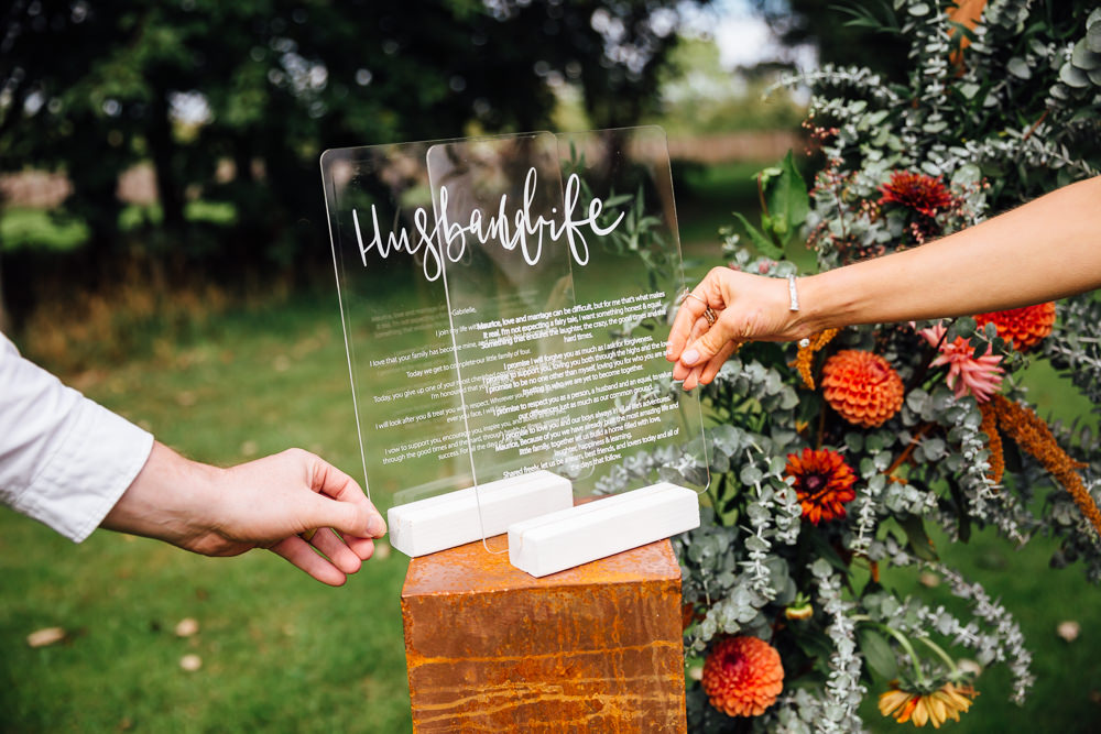 Clear Perspex Acrylic Glass Calligraphy Vows Autumn Festival Wedding Ideas Indigo and Violet Photography