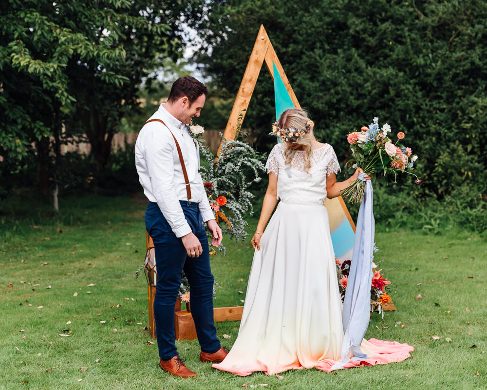 Triangle Wooden Painted Backdrop Decor Flowers Autumn Festival Wedding Ideas Indigo and Violet Photography