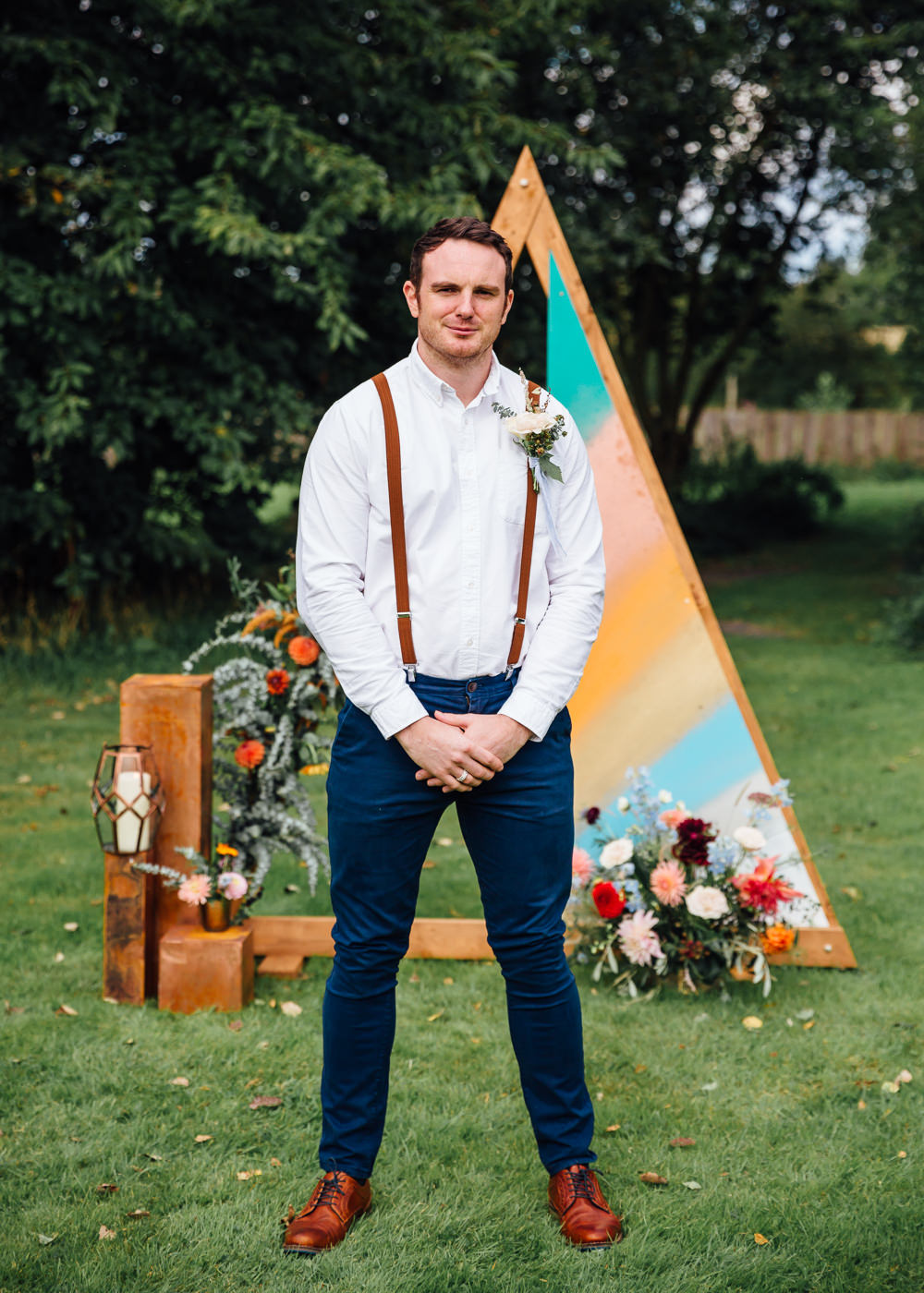 Groom Shirt Braces Chinos Autumn Festival Wedding Ideas Indigo and Violet Photography