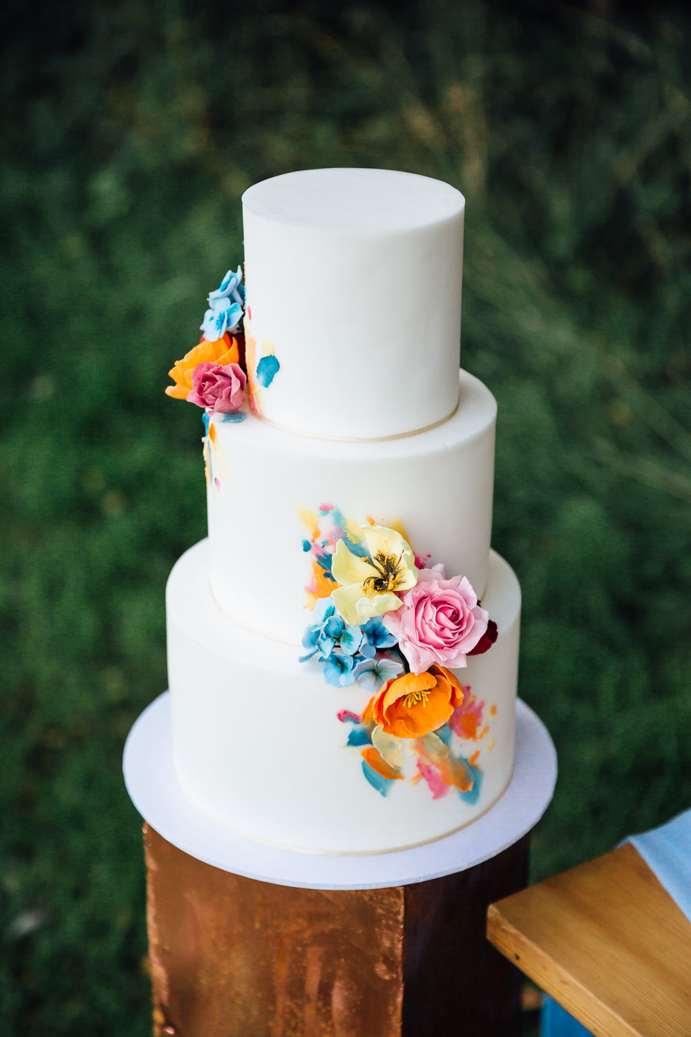 Colourful Floral Flowers Cake Autumn Festival Wedding Ideas Indigo and Violet Photography