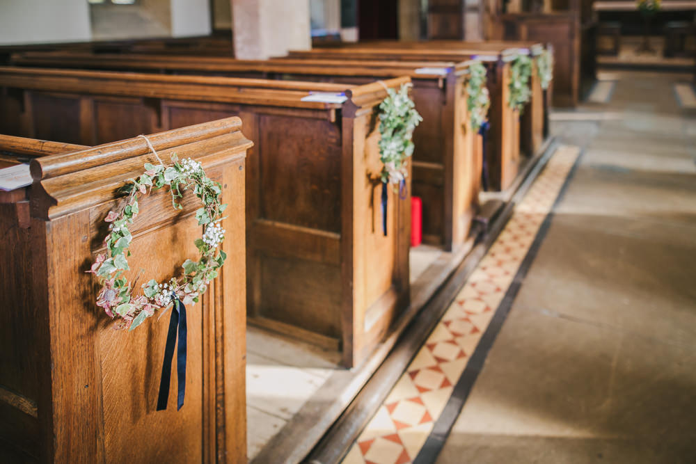 Wreath Flowers Pew Ends Church Aisle Cosy Autumn Wedding Amy Jordison Photography