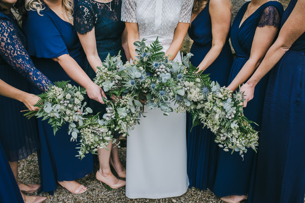 Bouquet Flowers Bride Bridal Greenery Thistle Eucalyptus Bridesmaids Cosy Autumn Wedding Amy Jordison Photography