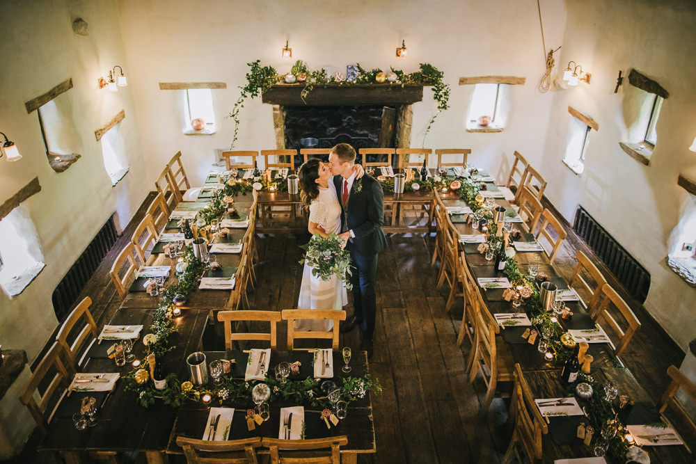 Table Decor Pumpkins Greenery Foliage Runner Swag Candles Cosy Autumn Wedding Amy Jordison Photography