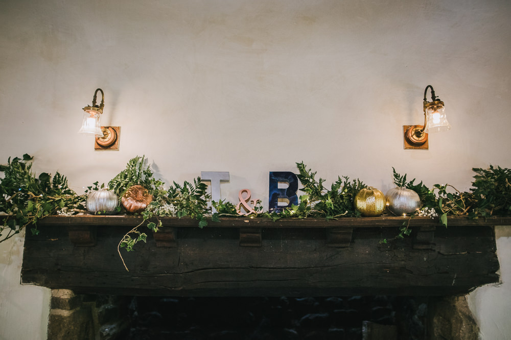 Mantle Piece Fireplace Pumpkins Candles Greenery Cosy Autumn Wedding Amy Jordison Photography