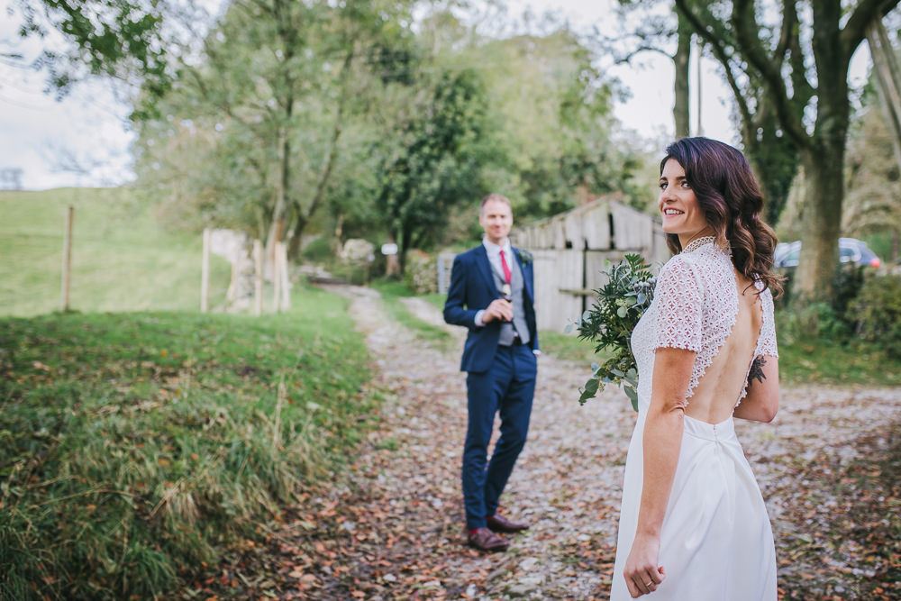 Dress Gown Bride Bridal Whistles Open Back Lace Short Sleeves Cosy Autumn Wedding Amy Jordison Photography