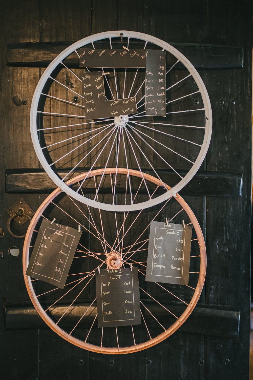 Bicycle Wheels Seating Chart Table Plan Cosy Autumn Wedding Amy Jordison Photography