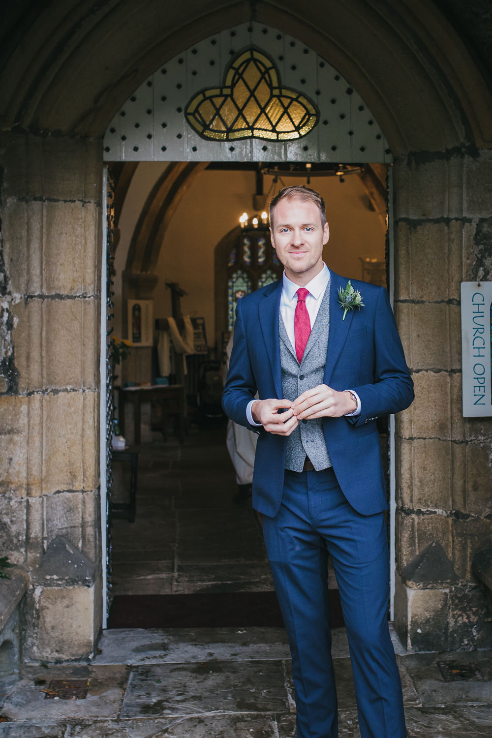 Groom Suit Blue Grey Waistcoat Red Tie Cosy Autumn Wedding Amy Jordison Photography