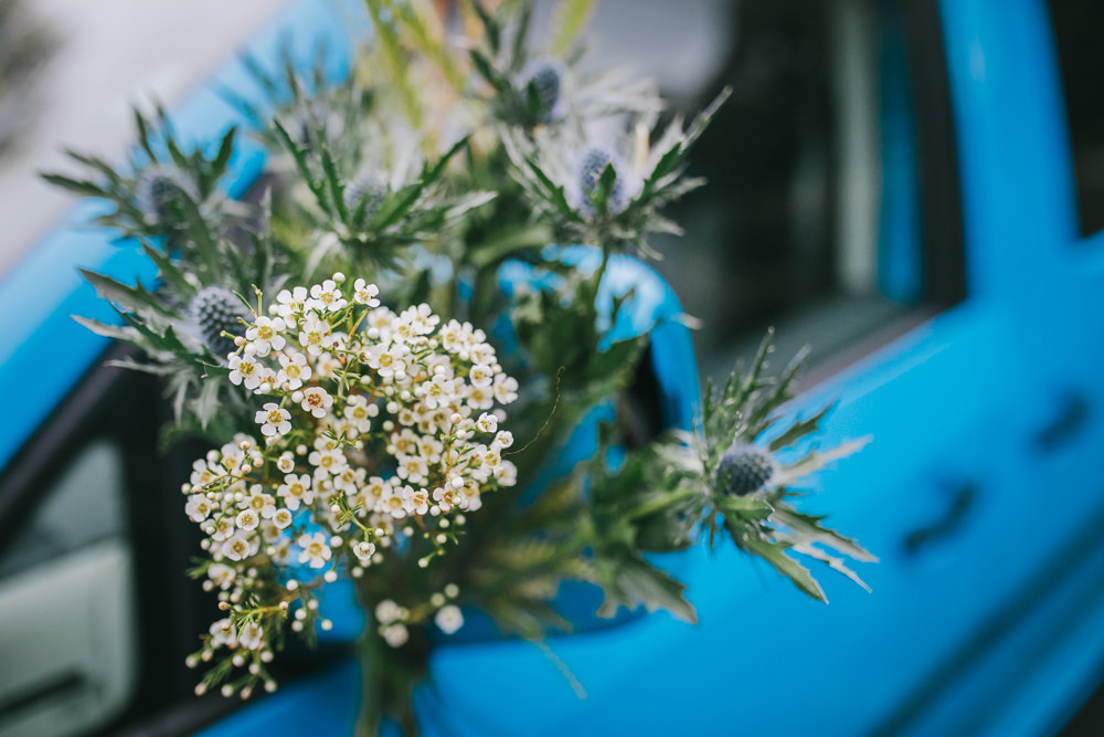Car Flowers Greenery Thistle Eucalyptus Cosy Autumn Wedding Amy Jordison Photography