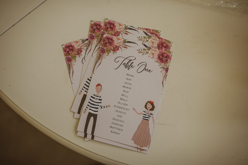 Illustrated Floral Stationery Table Names Escape To The Chateau Wedding The Springles