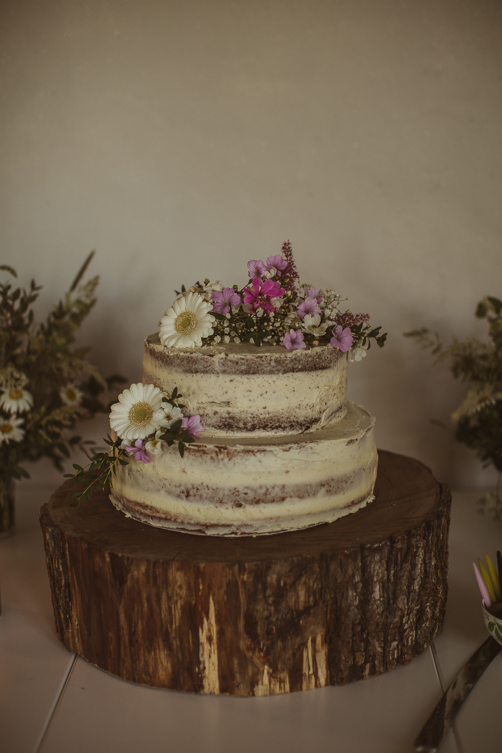 Semi Naked Cake Icing Buttercream Flowers Log Stand Escape To The Chateau Wedding The Springles