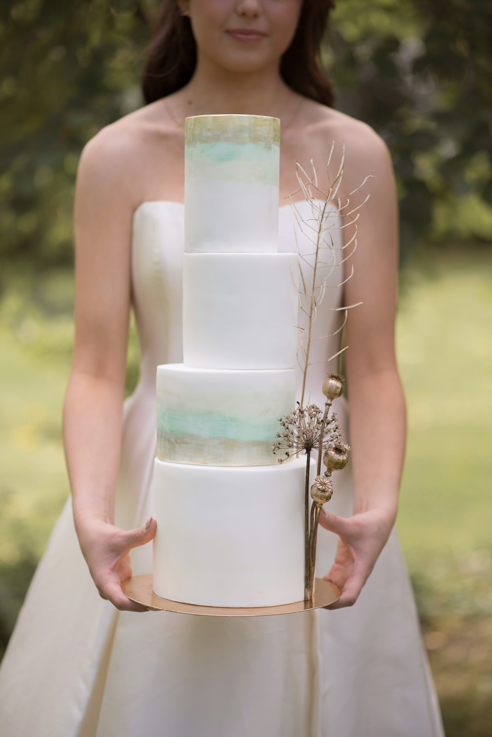 Cake Iced Tall Green Gold Painted Watercolour Flower Heads Minimalist Wedding Ideas Nicola Belson Photography