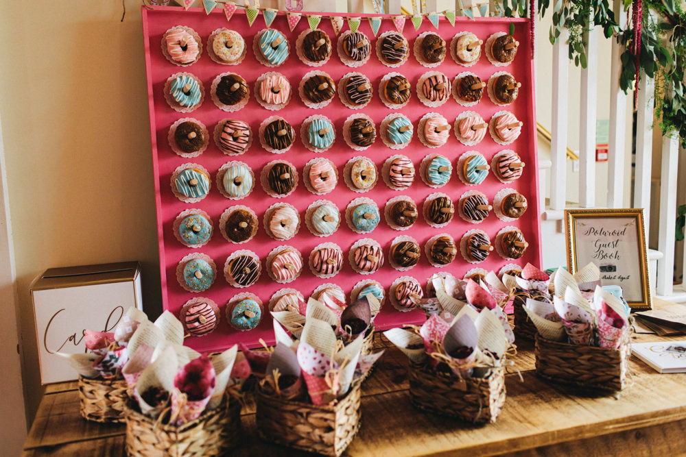 Donut Doughnut Stand Wall Outbuildings Wedding Jessica O'Shaughnessy Photography