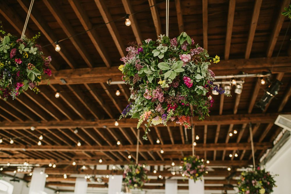 Ceiling Hanging Suspended Flowers Decor Spring Coral Peony Natural Wild Colourful Riverside London Wedding Ellie Gillard Photography