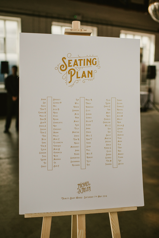 Seating Plan Table Chart Gold Riverside London Wedding Ellie Gillard Photography
