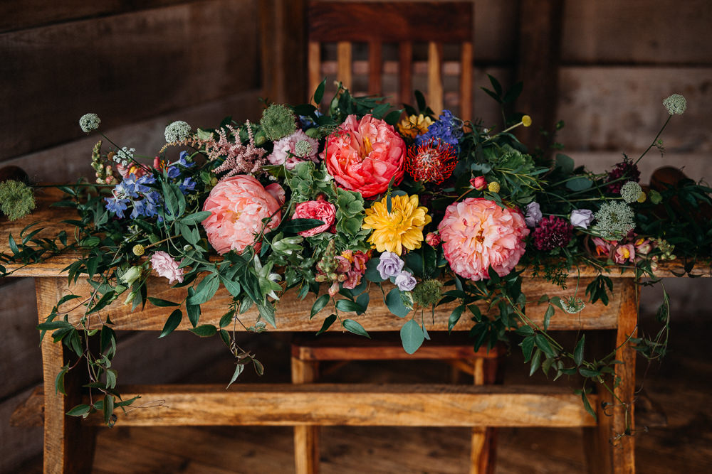 Table Flowers Coral Peony Peonies Pink Rose Ribbons Delphinium Hydrangea South Farm Wedding Miracle Moments