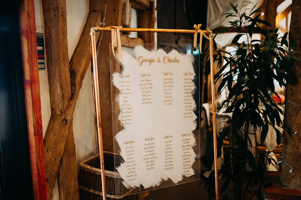 Copper Pipe Seating Chart Table Plan Perspex Acrylic Glass South Farm Wedding Miracle Moments